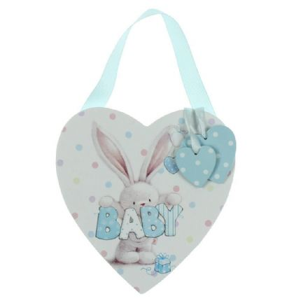 Bunny Heart Plaque with Blue Hanging Hearts